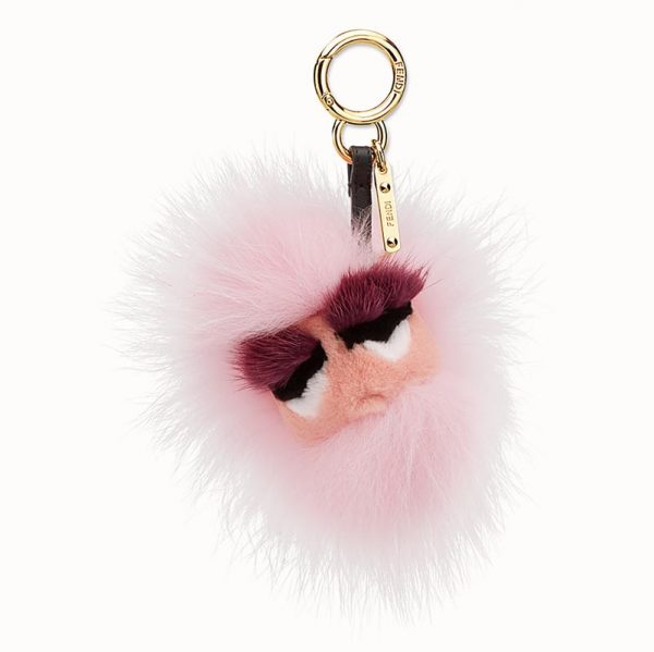Fendi Pink Bag Bug Charm with Face Fox Fur
