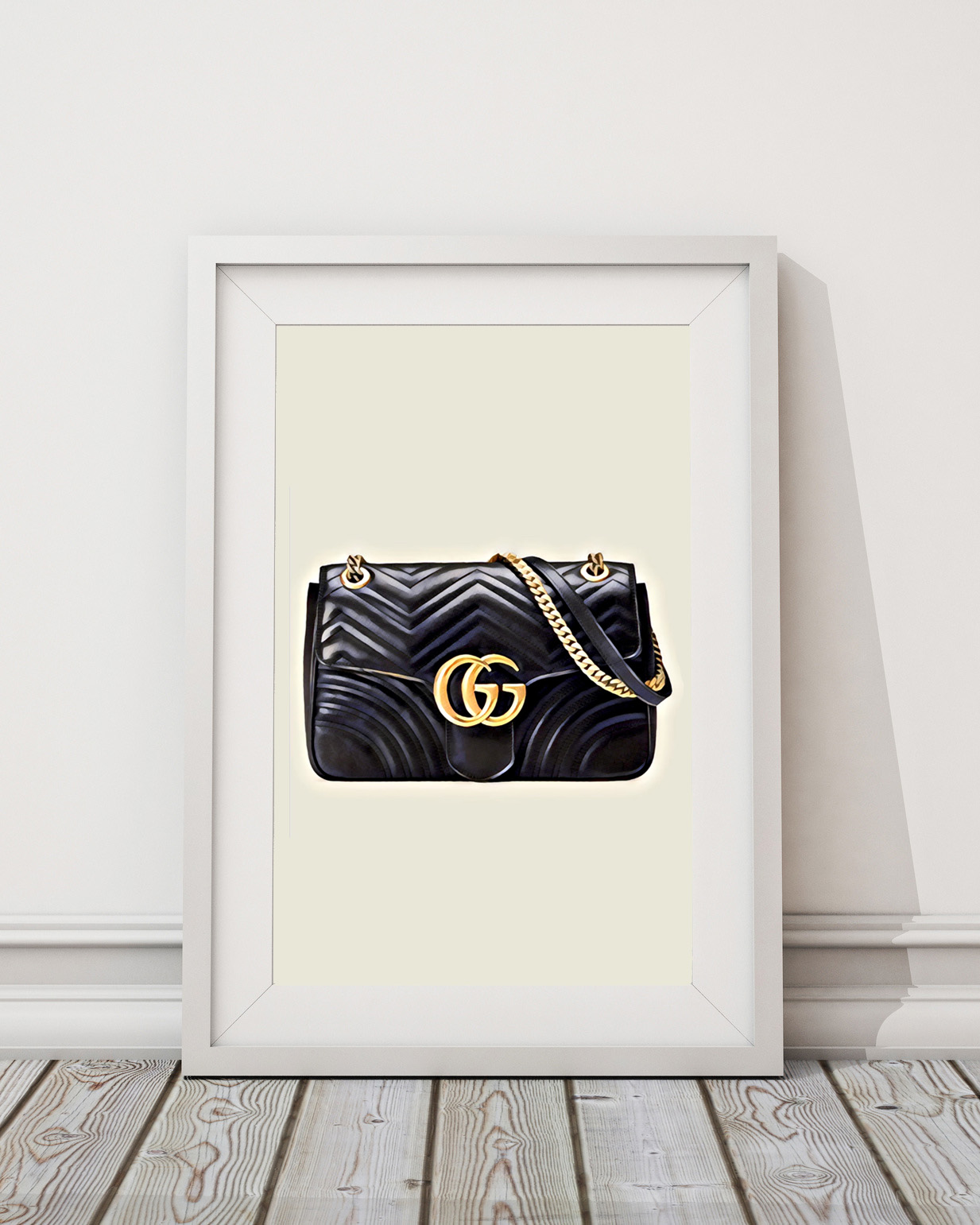 c2cf50aec54 Black Gucci Marmont Bag with gold hardware poster artwork