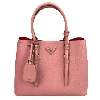11dbd0809bbe Prada Saffiano Covered Strap Cuir Double Bag - Pink - Handbagholic