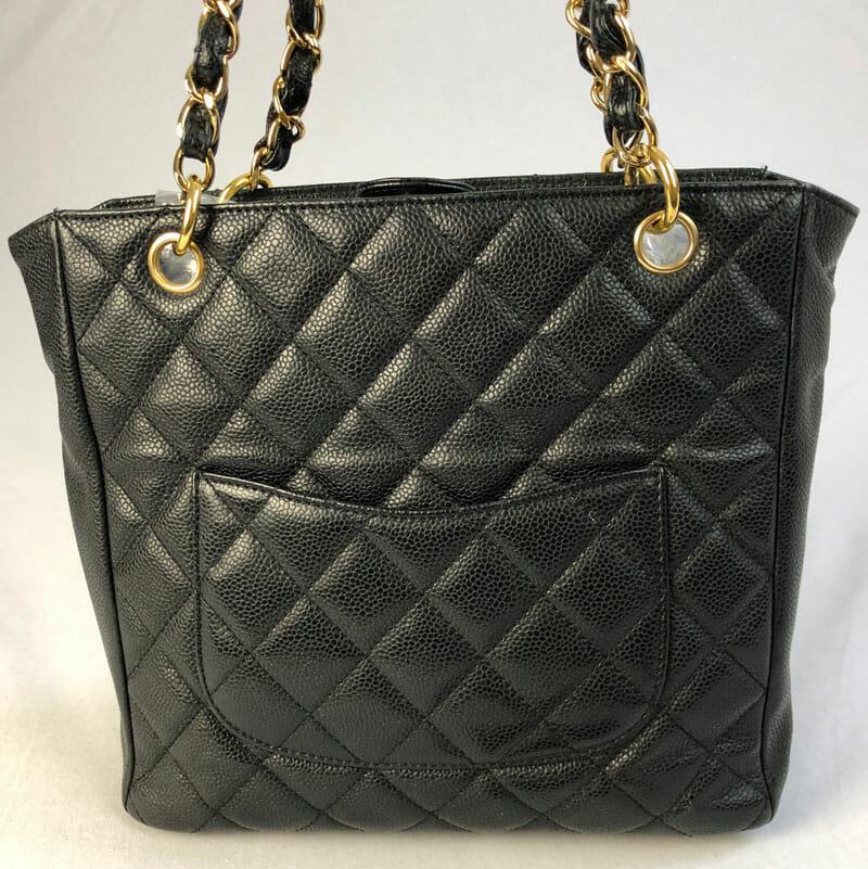 af3245c090c4 Chanel Authentic PST Black Bag with Gold Hardware for Sale UK back of bag