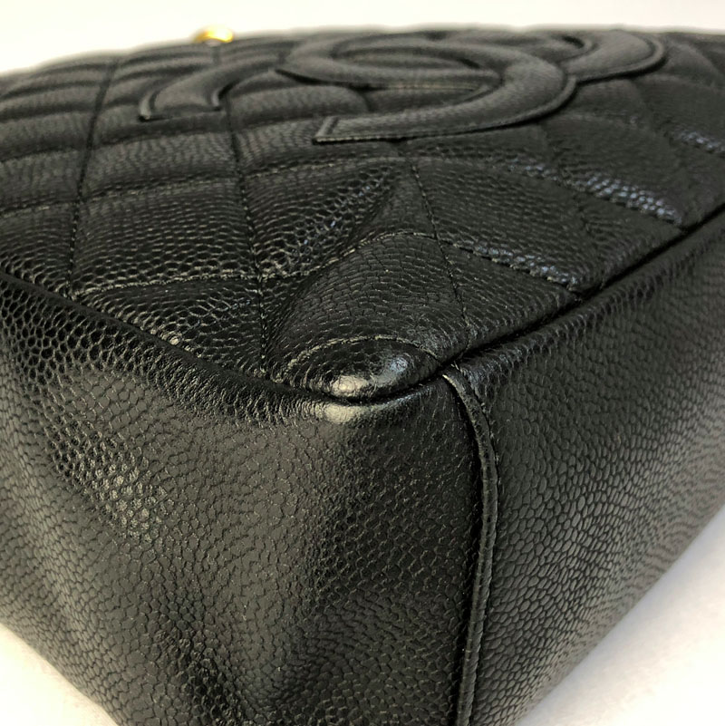 18229318a Chanel Authentic PST Black Bag with Gold Hardware for Sale UK bottom corner  of bag