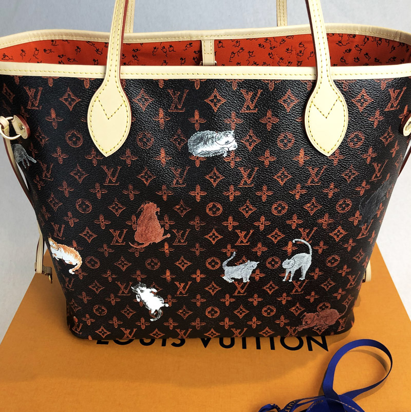 0222a320014a Louis Vuitton Catogram Grade Coddington Neverfull MM Tote Bag Handbagholic  cats dog print