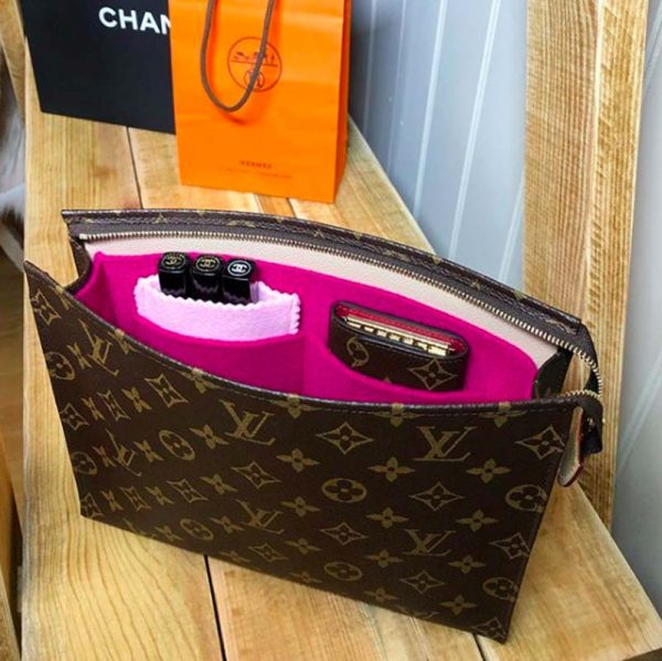 louis Vuitton toiletry pouch 26 conversion kit handbag liner to shoulder bag hot pink