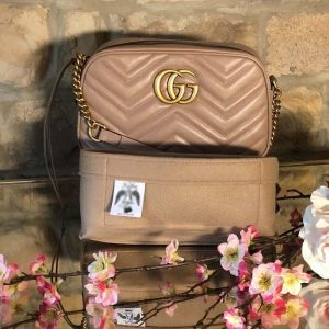 Gucci Small Marmont handbag Liner nude beige for Designer Handbags Handbagholic