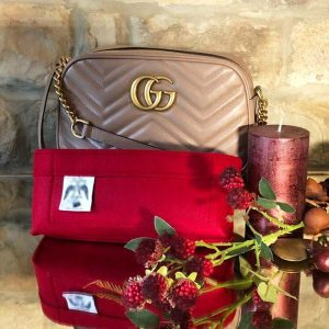 Gucci Small Marmont handbag red Liner for Designer Handbags Handbagholic