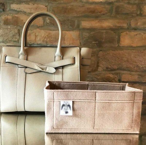 Mulberry Mini Zipped Bayswater beige handbag Liner for Designer Handbags Handbagholic