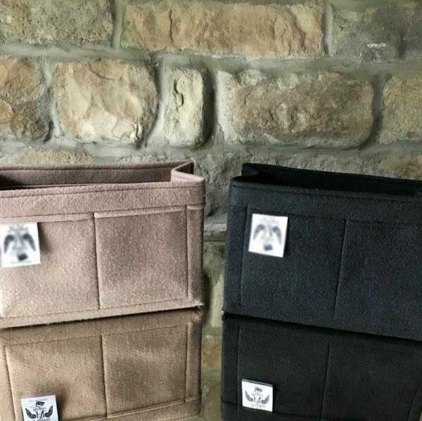 Mulberry Mini Zipped Bayswater grey and black organiser handbag Liner for Designer Handbags Handbagholic