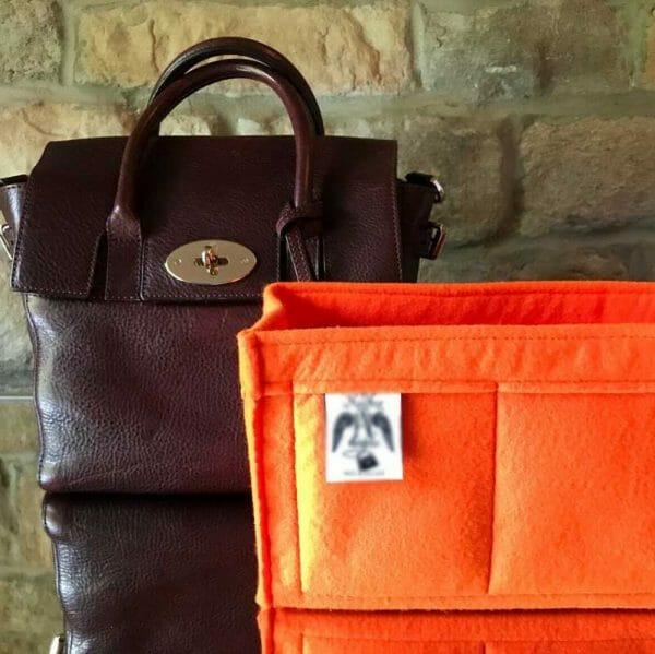 Mulberry Mini Zipped Bayswater organse handbag Liner for Designer Handbags Handbagholic