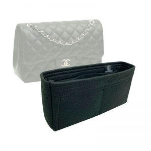 Chanel Medium Classic Flap handbag liner protector organiser insert handbagholic zoomoni black