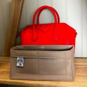 Givenchy Antigona Small handbag red liner protector organiser insert handbagholic beige