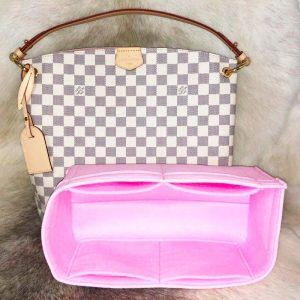 Louis Vuitton Graceful PM handbag liner protector organiser insert handbagholic pink