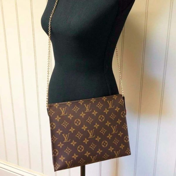 Louis Vuitton toiletry pouch conversion kit 19 turn into shoulder bag with chain on model