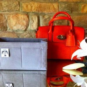 Classic Mulberry small bayswater handbag liner insert organiser made from felt handbagholic grey