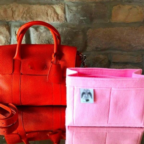 Classic Mulberry small bayswater handbag liner insert organiser made from felt handbagholic pink