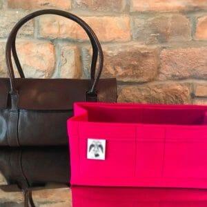Mulberry East West Bayswater Handbag Liner Insert Organiser dark pink