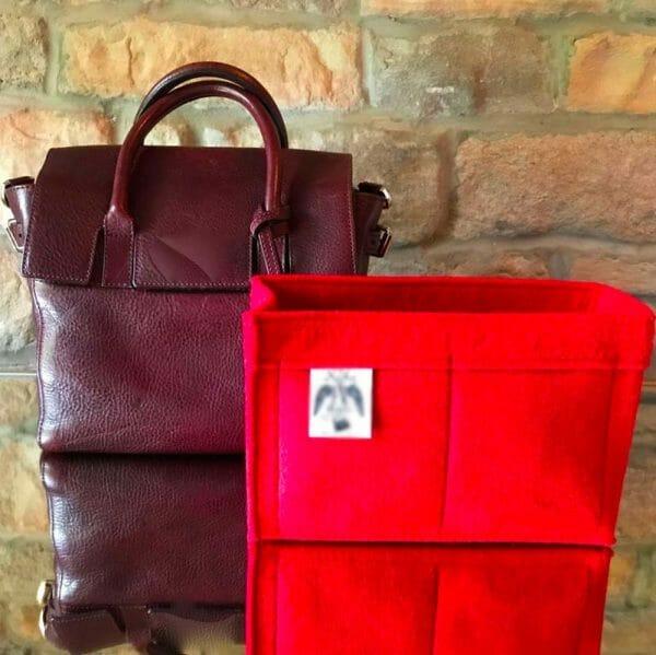 Mulberry mini zipped bayswater handbag liner insert organiser for designer handbag red