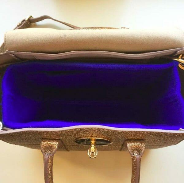 Mulberry mini zipped bayswater handbag liner insert organiser for designer handbag red blue