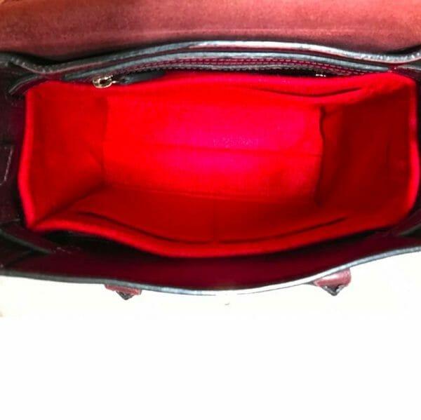 Mulberry mini zipped bayswater handbag liner insert organiser for designer handbag red inside bag