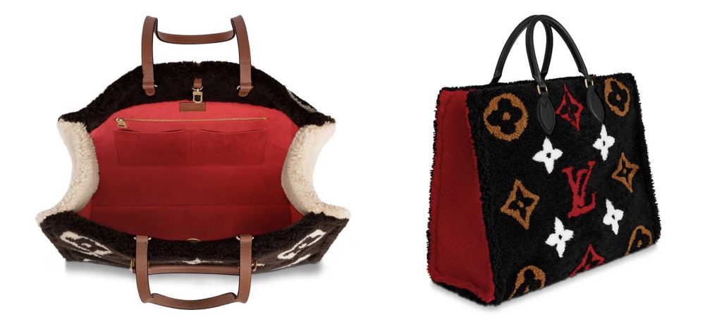 Louis Vuitton OnTheGo Teddy Shearling Tote Bags. Left - Brown Interior. Right - Black