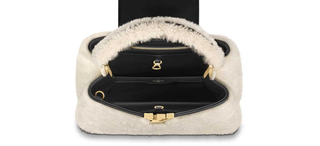 Louis Vuitton Shearling Teddy Collection Capucines PM Inside