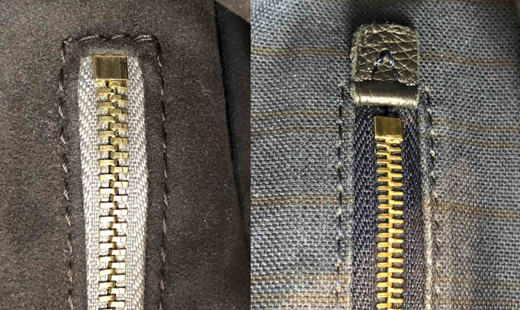 Detailed image of Louis Vuitton Artsy fake and authentic internal zipper compartment