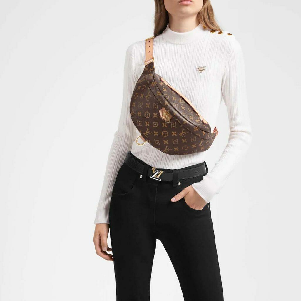 Louis vuitton monogram bumbag authentic bum bag handbagholic uk on model
