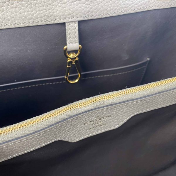 Louis vuitton Capucines MM Galet and Gold hardware Bag handbagholic uk inside close