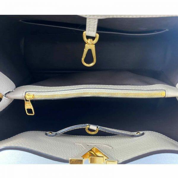 Louis vuitton Capucines MM Galet and Gold hardware Bag handbagholic uk lining