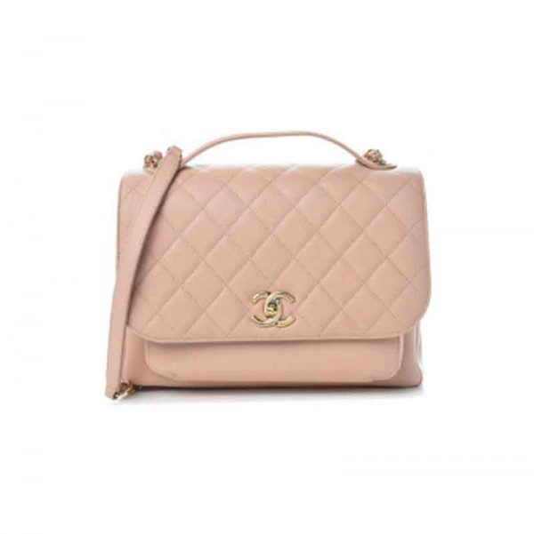Chanel Large Pink Business Affinity Bag with Gold Hardware