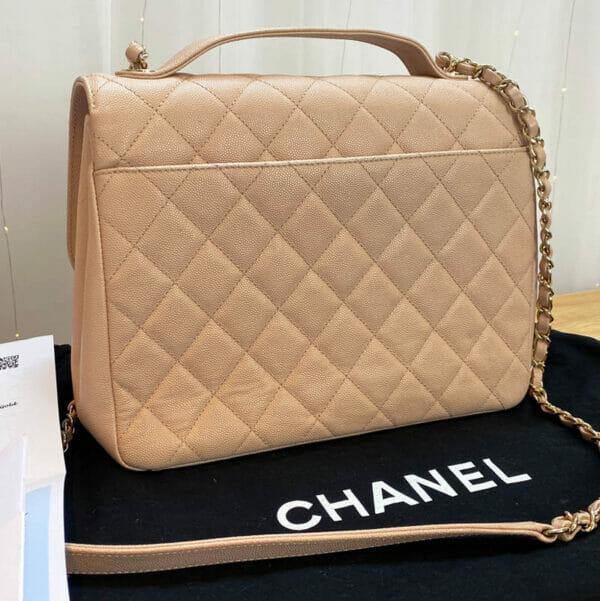 Chanel Large Pink Business Affinity Bag with Gold Hardware corner of bag new Back