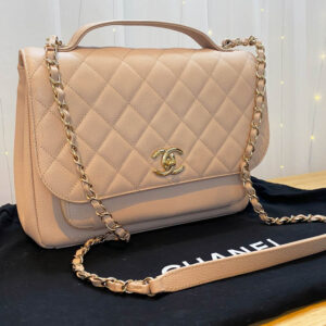 Chanel Large Pink Business Affinity Bag with Gold Hardware logo FRONT NEW