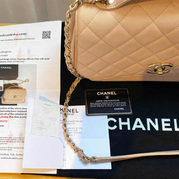 Chanel Large Pink Business Affinity Bag with Gold Hardware paperwork