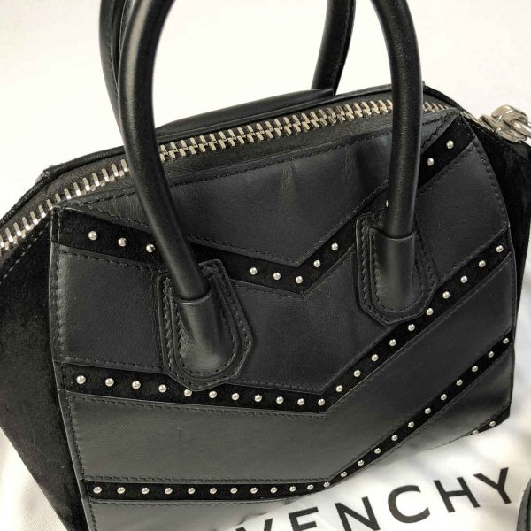 Givenchy Antigona Mini Studded Chevron leather bag handbagholic authentic designer bag back