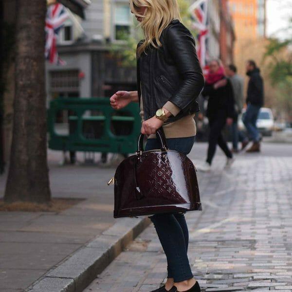 Louis Vuitton Alma GM Large Amarante Vernis Leather being worn