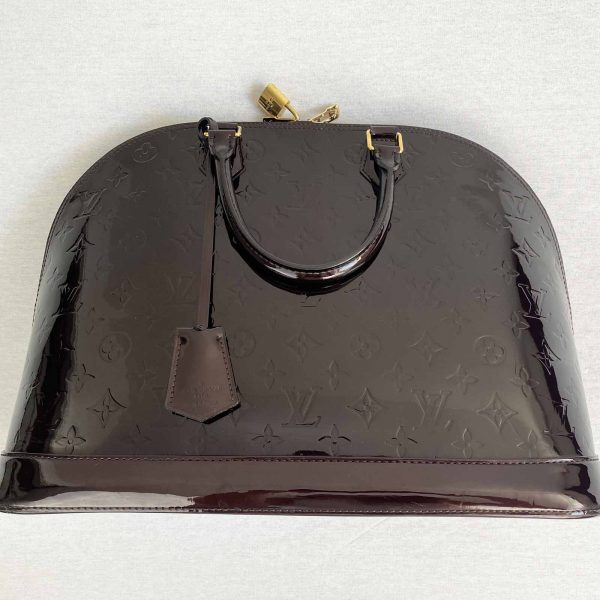 Louis Vuitton Alma GM Large Amarante Vernis Leather laid flat