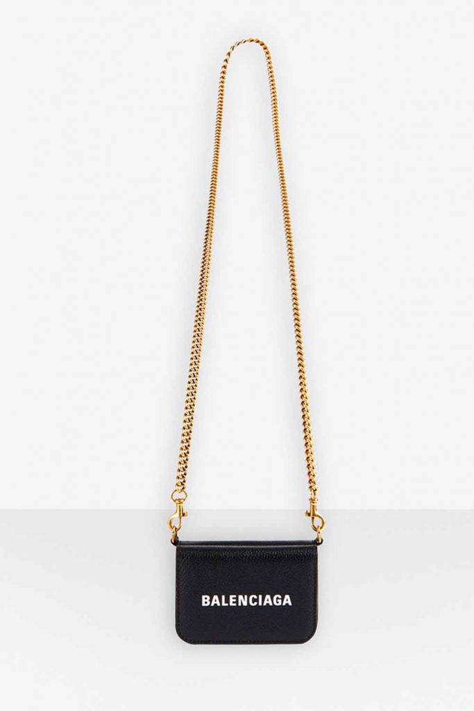 Tiny Balenciaga cash mini wallet on crossbody chain