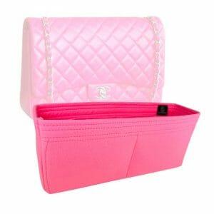 Chanel Maxi Classic Flap Bag handbag liner protector organiser insert handbagholic pink
