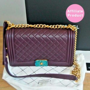 Chanel New Medium Plum Dark Purple boy bag with gold hardware