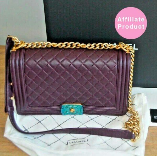 Chanel New Medium Plum Dark Purple boy bag with gold hardware