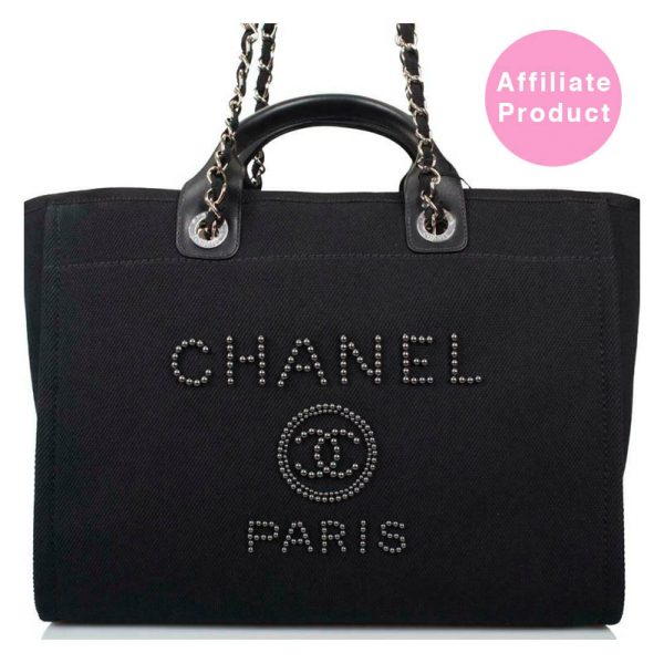 Chanel Pearl Deauville Black Medium Tote Bag