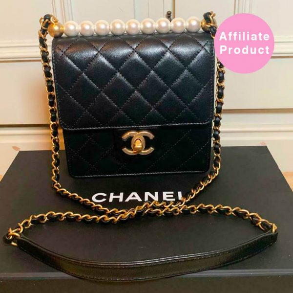 Chanel Pearl Mini Flap Bag Black Calf leather