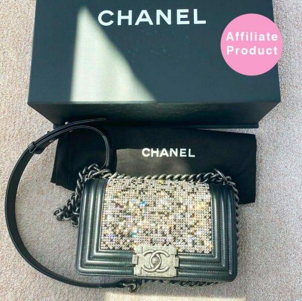 Chanel Small Boy Bag Swarovski Crystals Black and Silver