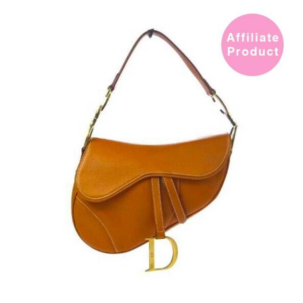 Christian Dior Tan Leather Saddle bag with gold hardware used