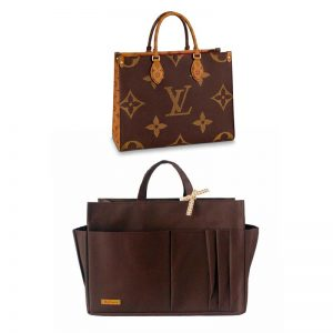 Louis Vuitton OnTheGo Tote Bag MM and GM Waterproof Bagliner Organiser Brown