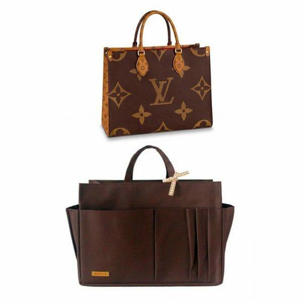 Louis Vuitton OnTheGo Tote Bag MM and GM Waterproof Bagliner Organiser Brown