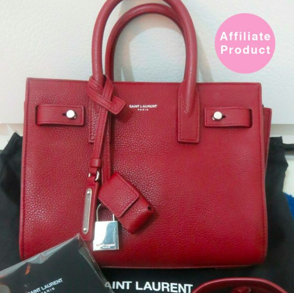 Saint Laurent Nano Red Dark Burgundy sac De Jour Bag