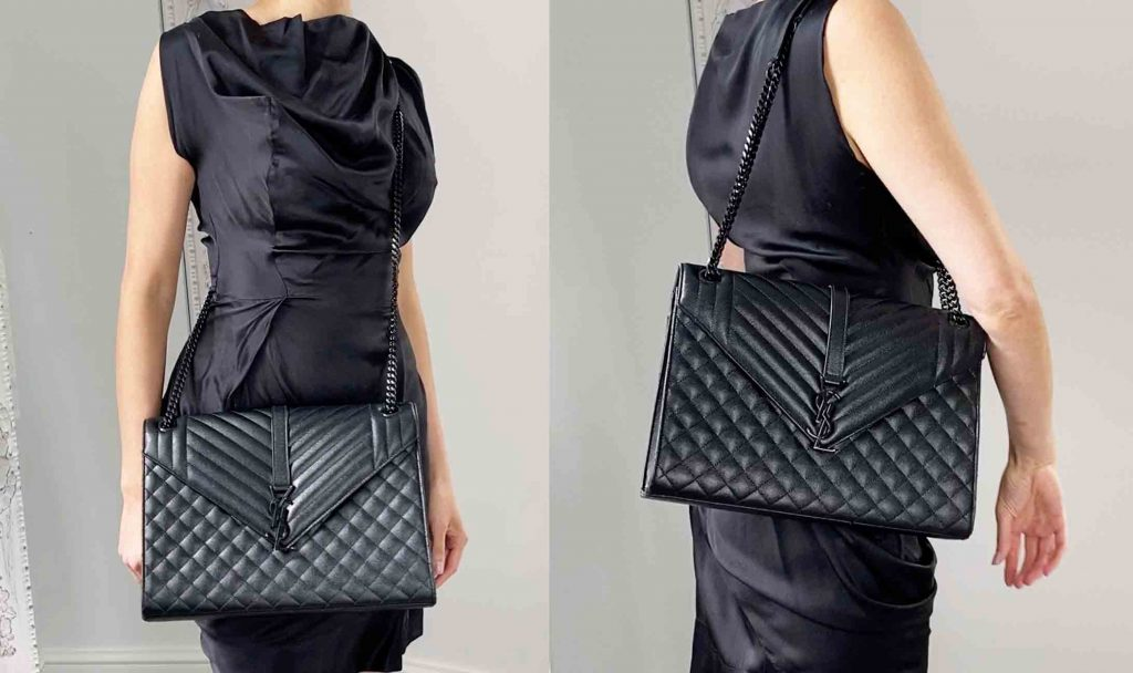 Saint-Laurent-YSL-Large-Black-envelope-Evening-bag-Handbagholic