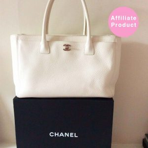 White Chanel Executive Tote Bag