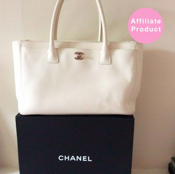 White Chanel Executive Tote Bag