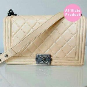 Chanel Old Medium boy bag ivory leather